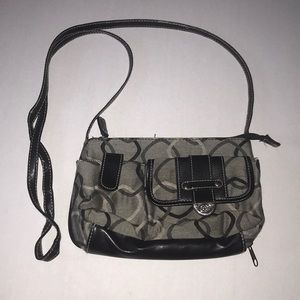 Gray patterned crossbody purse